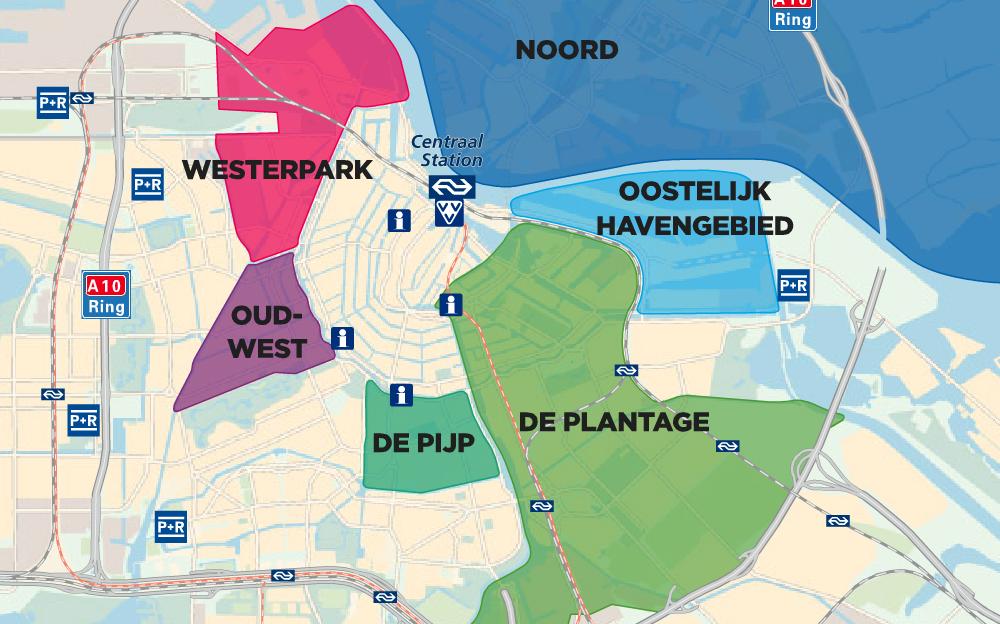 Le plan des quartiers d'Amsterdam