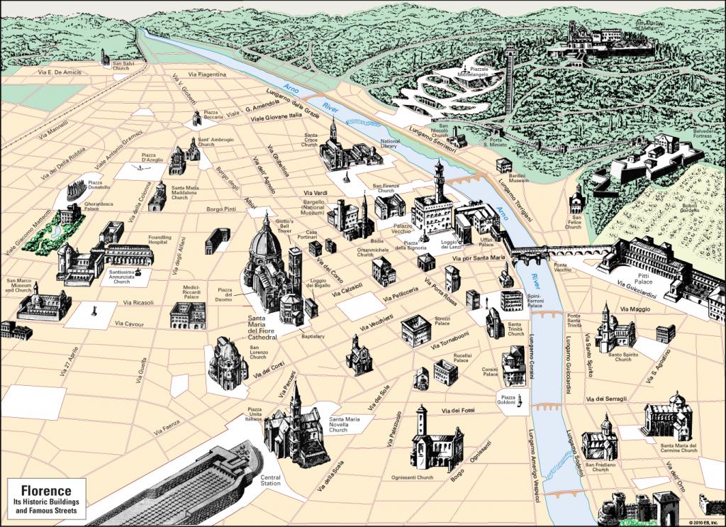 La carte de Florence et de ses monuments